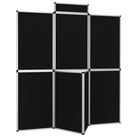 8-Panel Folding Exhibition Display Wall 181x200 cm Black