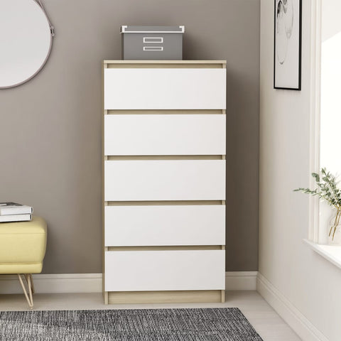 Drawer Sideboard White and Sonoma Oak 60x35x121 cm Chipboard