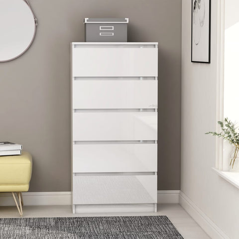 Drawer Sideboard High Gloss White 60x35x121 cm Chipboard