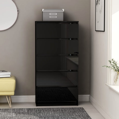 Drawer Sideboard High Gloss Black 60x35x121 cm Chipboard