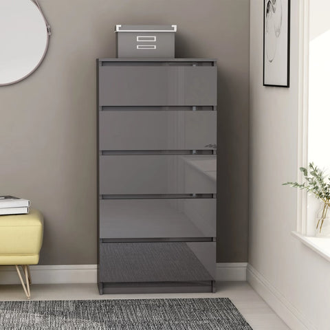 Drawer Sideboard High Gloss Grey 60x35x121 cm Chipboard