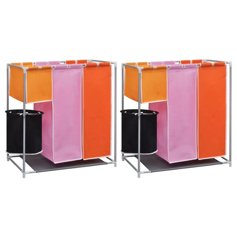3-Section Laundry Sorter Hampers 2 pcs with a Washing Bin