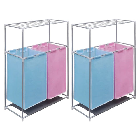 2-Section Laundry Sorter Hampers 2 pcs with a Top Shelf for Drying
