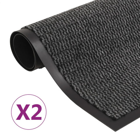 Dust Control Mats 2 pcs Rectangular Tufted 60x90 cm Anthracite
