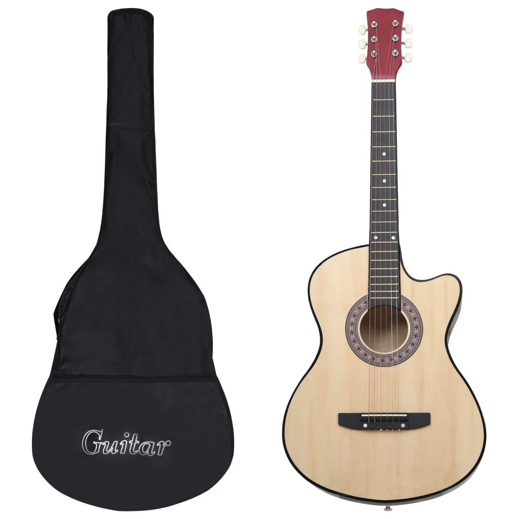 12 Piece Western Acoustic Cutaway Guitar Set with 6 Strings 38