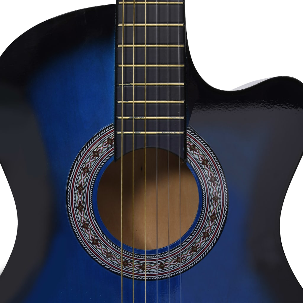 Western Acoustic Cutaway Guitar with 6 Strings Blue Shaded 38