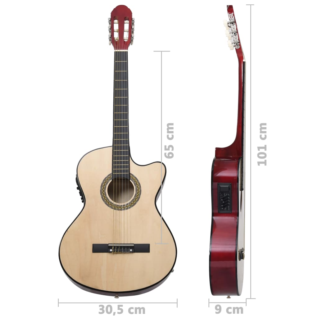 Western Acoustic Cutaway Guitar with Equalizer and 6 Strings