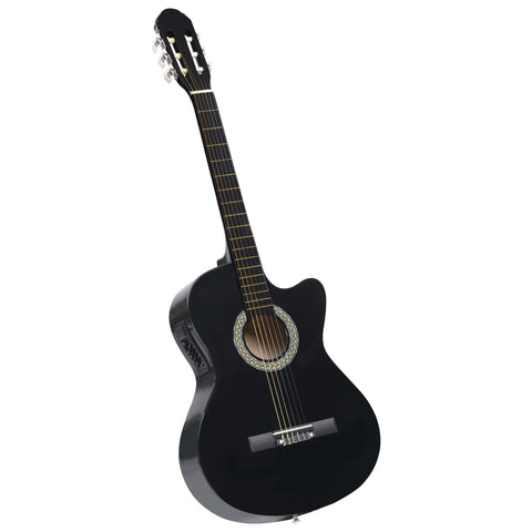 Western Acoustic Cutaway Guitar with Equalizer 6 Strings Black