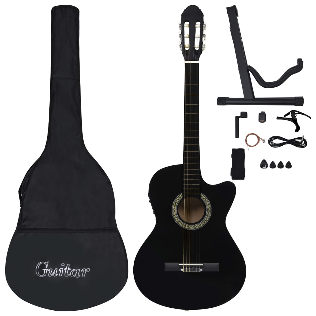 12 Piece Western Guitar Set with Equalizer and 6 Strings Black