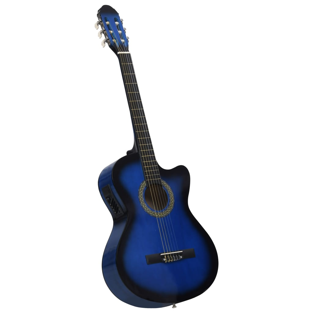 12 Piece Western Guitar Set with Equalizer and 6 Strings Blue