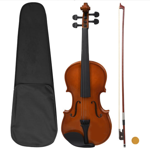 Violin Full Set with Bow and Chin Rest Dark Wood 4/4