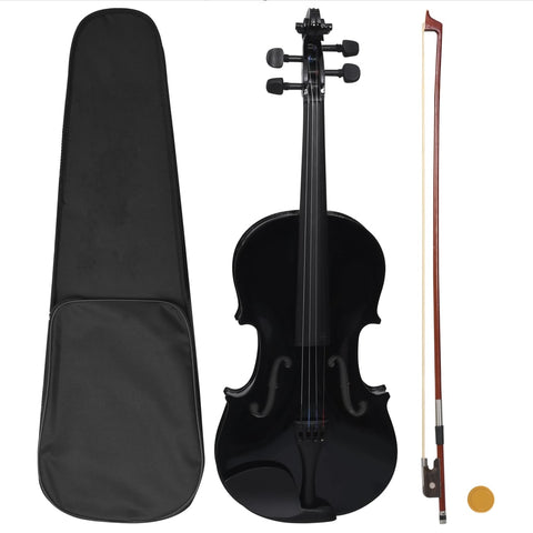 Violin Full Set with Bow and Chin Rest Black 4/4