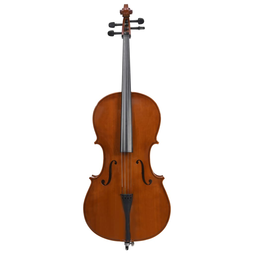 Cello Full Set with Bag and Natural Hair Bow Dark Wood 4/4