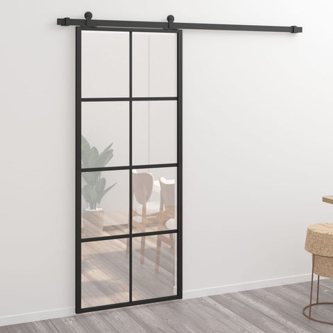 Sliding Door Aluminium and ESG Glass 76x205 cm Black