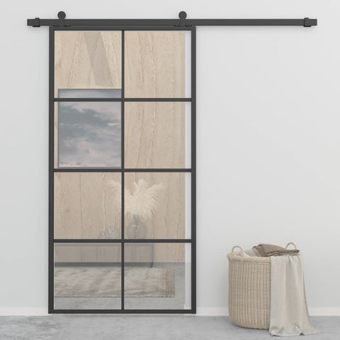 Sliding Door Aluminium and ESG Glass 102.5x205 cm Black