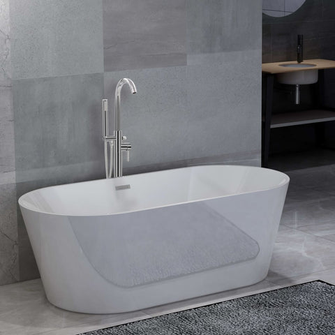 Freestanding Bathtub and Faucet 220 L 118,5 cm Silver
