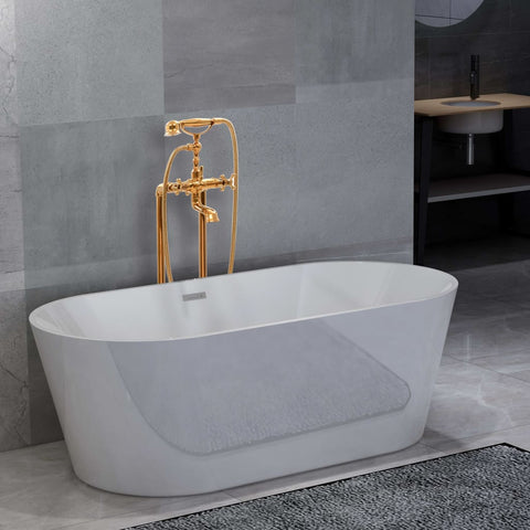 Freestanding Bathtub and Faucet 220 L 99,5 cm Gold