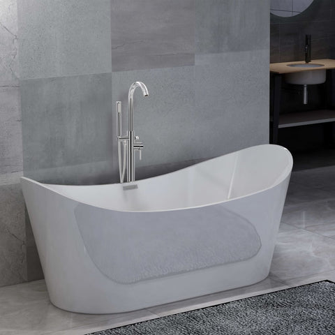 Freestanding Bathtub and Faucet 204 L 118,5 cm Silver