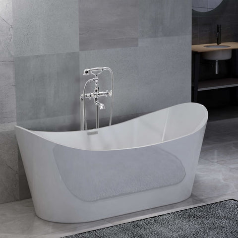 Freestanding Bathtub and Faucet 204 L 99,5 cm Silver