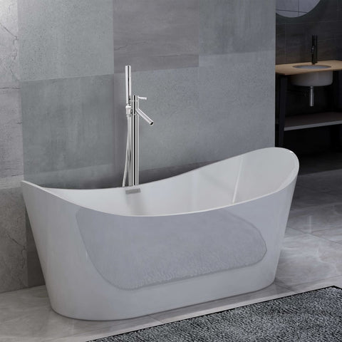 Freestanding Bathtub and Faucet 204 L 110 cm Silver