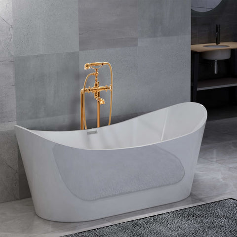Freestanding Bathtub and Faucet 204 L 99,5 cm Gold
