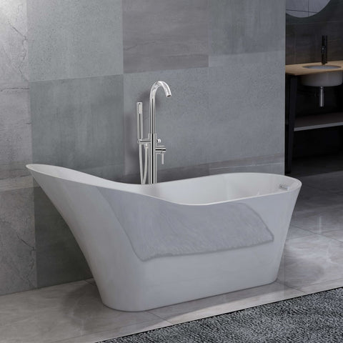 Freestanding Bathtub and Faucet 210 L 118,5 cm Silver