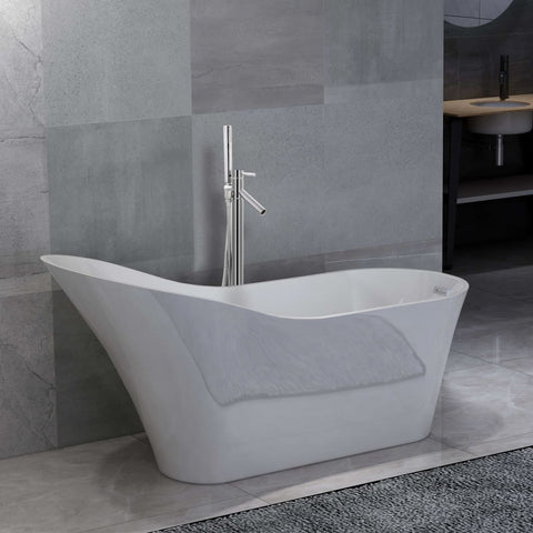 Freestanding Bathtub and Faucet 210 L 110 cm Silver