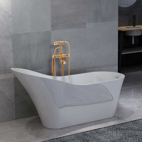 Freestanding Bathtub and Faucet 210 L 99,5 cm Gold