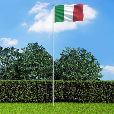 Italy Flag and Pole Aluminium 6 m