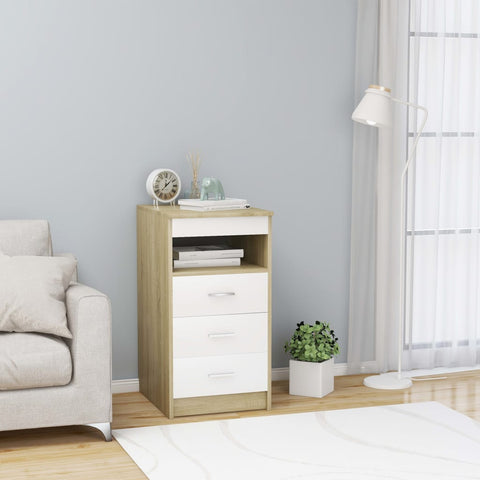 Drawer Cabinet White and Sonoma Oak 40x50x76 cm Chipboard