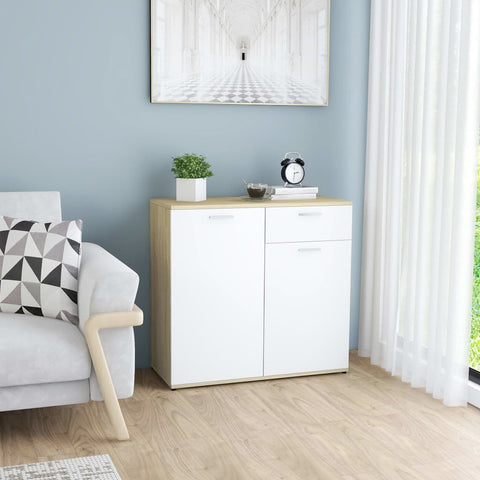Sideboard White and Sonoma Oak 80x36x75 cm Chipboard
