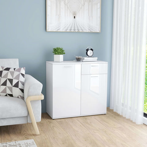 Sideboard High Gloss White 80x36x75 cm Chipboard