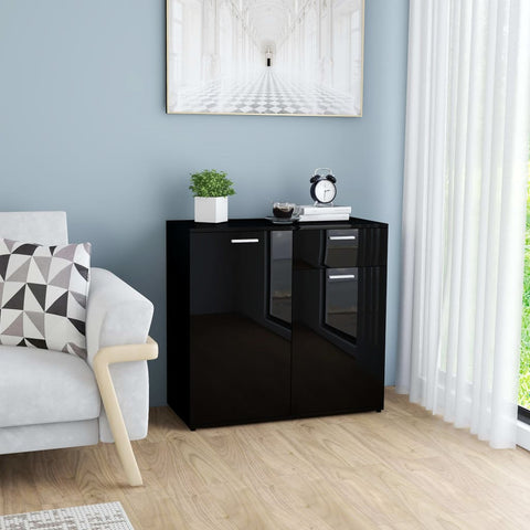Sideboard High Gloss Black 80x36x75 cm Chipboard