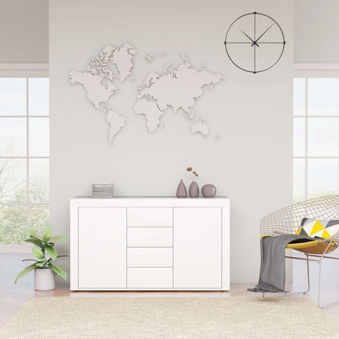 Sideboard High Gloss White 120x36x69 cm Chipboard