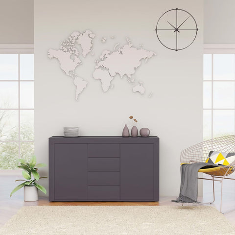 Sideboard High Gloss Grey 120x36x69 cm Chipboard