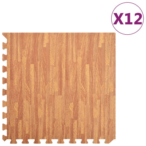 Floor Mats 12 pcs Wood Grain 4.32 ㎡ EVA Foam