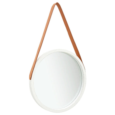 Wall Mirror with Strap 40 cm White