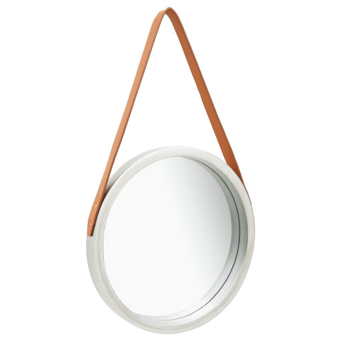 Wall Mirror with Strap 40 cm Silver
