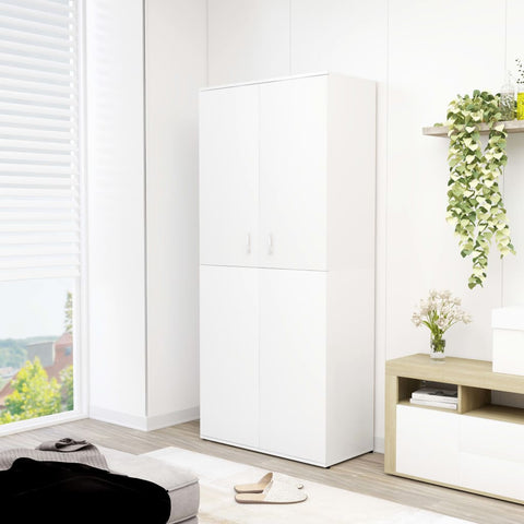 Shoe Cabinet White 80x39x178 cm Chipboard