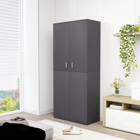 Shoe Cabinet Grey 80x39x178 cm Chipboard