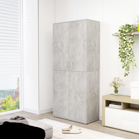 Shoe Cabinet Concrete Grey 80x39x178 cm Chipboard