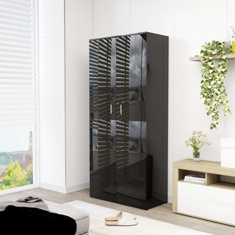 Shoe Cabinet High Gloss Black 80x39x178 cm Chipboard