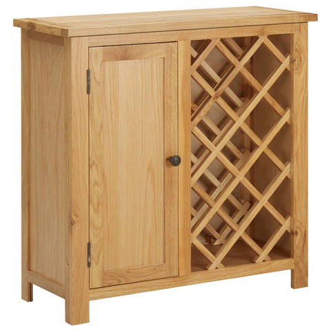 Wine Cabinet for 11 Bottles 80x32x80 cm Solid Oak Wood