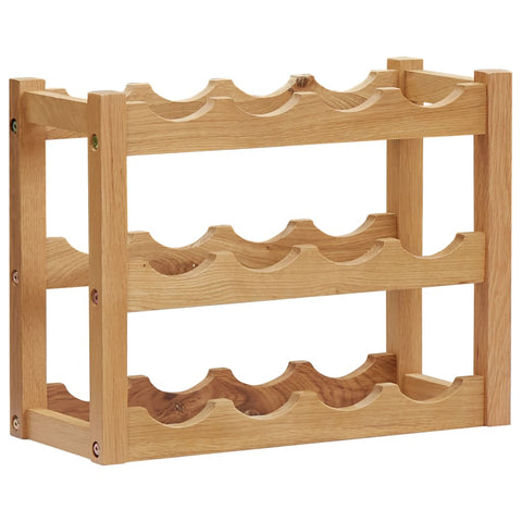 Wine Rack for 12 Bottles 47x21x36 cm Solid Oak Wood