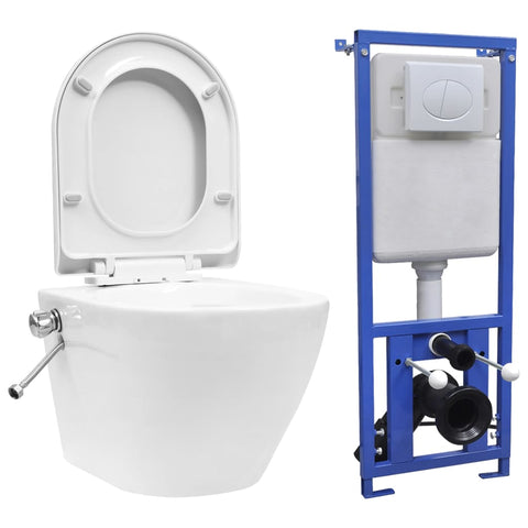 Wall Hung Rimless Toilet with Concealed Cistern Ceramic White