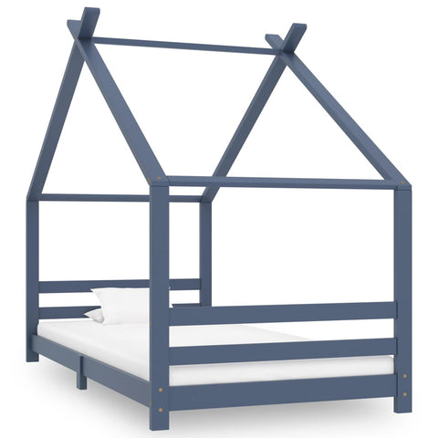 Kids Bed Frame Grey Solid Pine Wood 90x200 cm