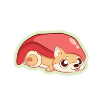 Cute shiba inu sushi cartoon sticker