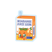 Box of orange juice with an orange boar cartoon sticker