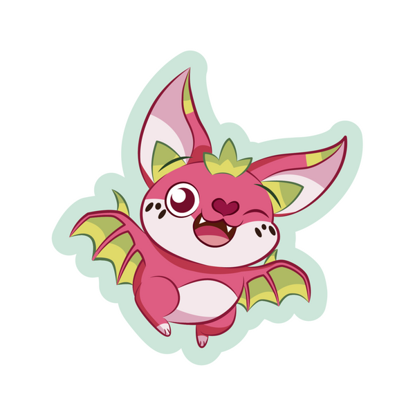 A happy bat with the aesthetic of a dragon fruit cartoon sticker