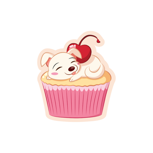 A puppy on top of a cupcake with a cherry on top cartoon sticker